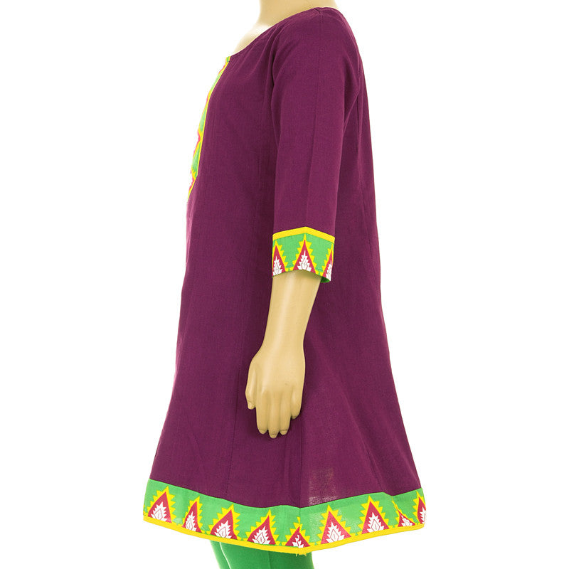 Casual Grape Wine Cotton Anarkali Kurta With Contrast Yoke Prints For Kids