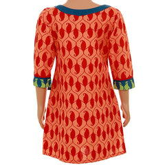 Kids Orange Casual Manga Printed Cotton Kurta With Button Down Yoke