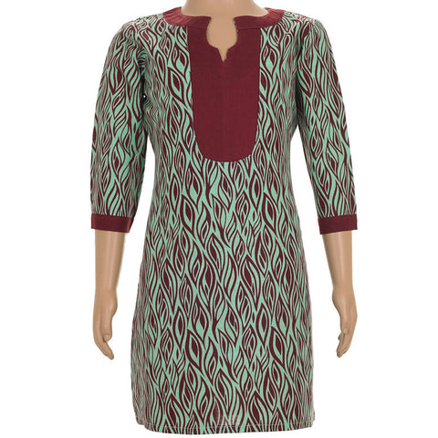 Casual Green Cotton Kurta With Maroon Prints For Kids