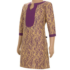 eSTYLe Purple 'N Yellow Printed Cotton Kurta With Solid Yoke For Kids