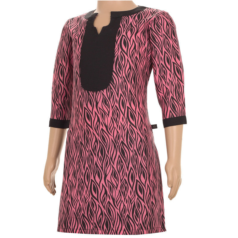 Azalea Pink Casual Printed Cotton Kurta With Disdinguished Neck And Yoke