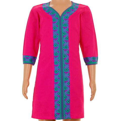 Magenta Kurta With Printed Neck Work From eSTYLe Girls