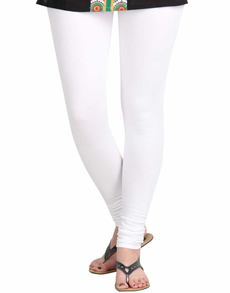Bright White Super Rich Finish Cotton Lycra Leggings from estyle