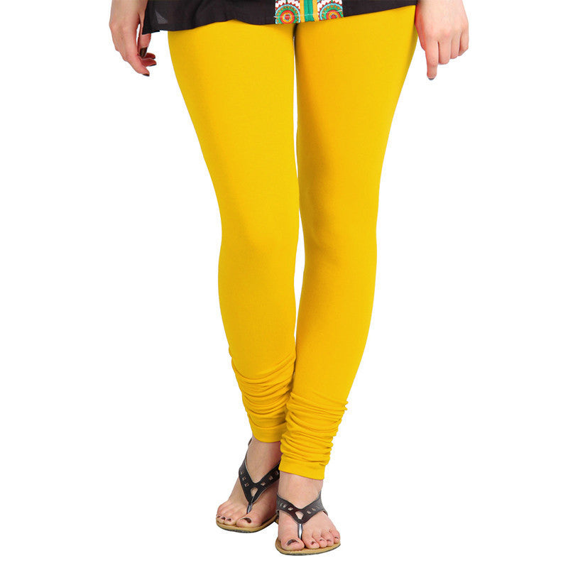 eSTYLe Gold Fusion Yellow Colour Pure Lycra Cotton Modern Leggings