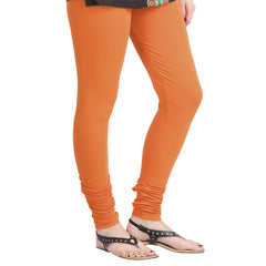 eSTYLe Contrast Vidrant Orange Colour Lycra Cotton Leggings