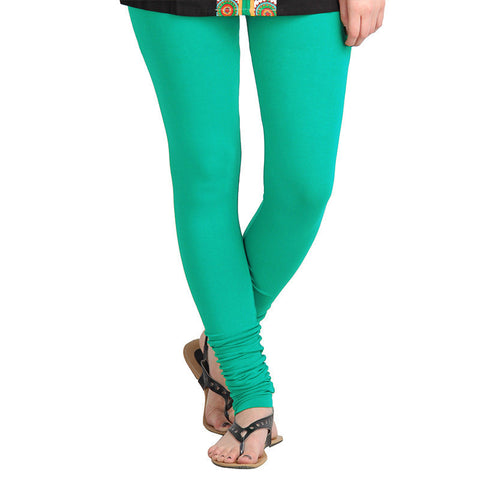 eSTYLe Peacock Green Pure Lycra Cotton Dazzling Leggings