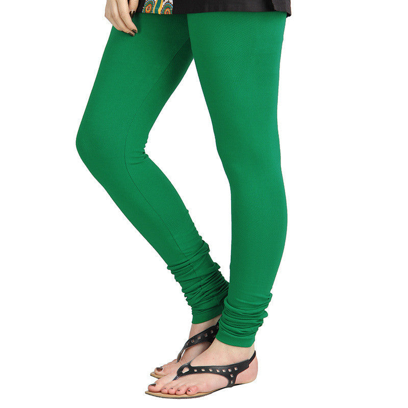 eSTYLe Amazon Green Colour Pure Lycra Cotton Stretchable Leggings
