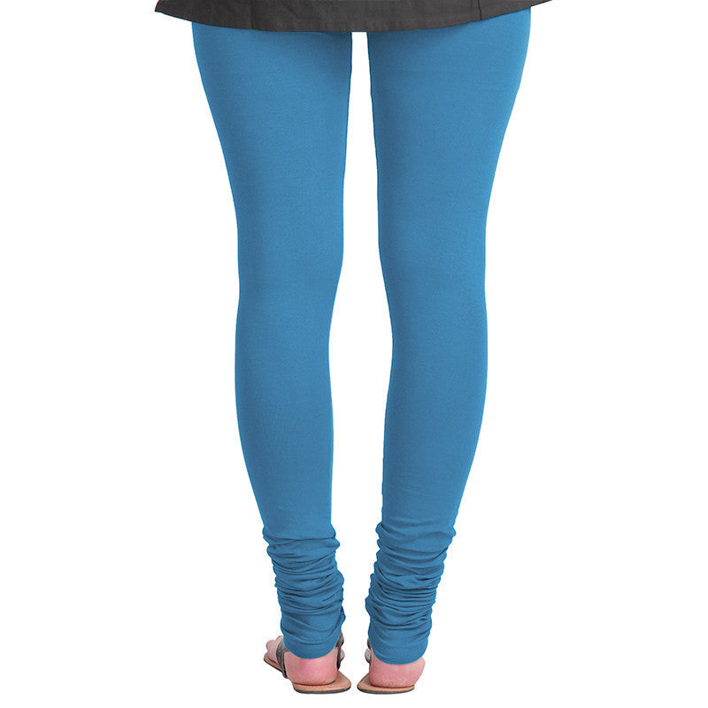 eSTYLe Faience Blue Colour Pure Lycra Cotton Stretchable Leggings