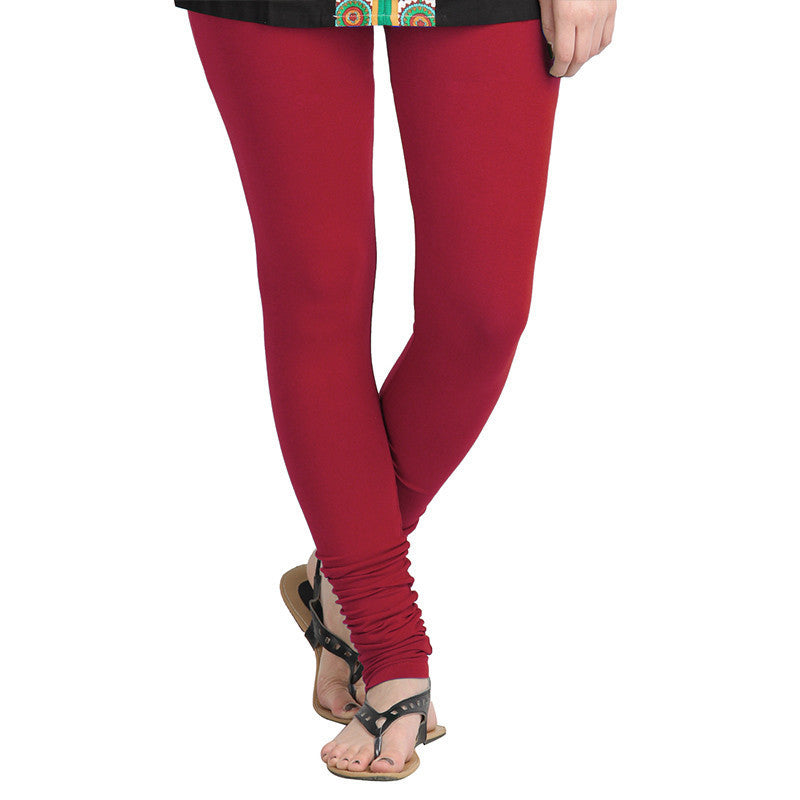 Poinsettia Red Colour Lycra Cotton Astonishing Leggings From eSTYLe