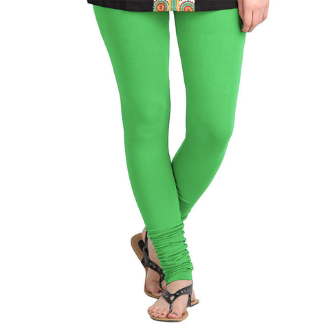 Vibrant Green Colour Lycra Cotton Modish Leggings From eSTYLe