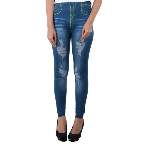 Trendy Jeans Print On Stylish Enrich Finished Leggings From Estyle