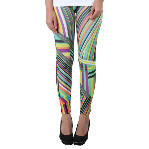 MultiColour Stripes On Stylish Enrich Finished Leggings From Estyle