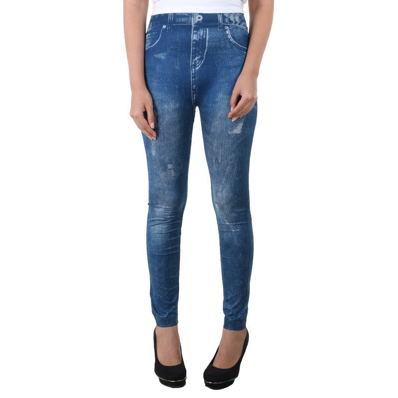 Shaded  Blue Jeans Printed On Enrich Finished Leggings From Estyle