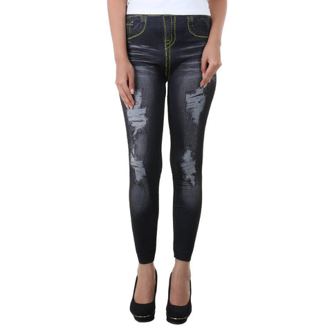 Shaded  Black Jeans Printed On Enrich Finished Leggings From Estyle