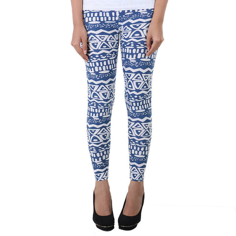Geometric Prints On Blue Enrich Finished Leggings From Estyle