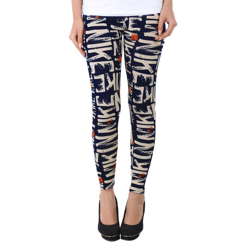 Alphabet Prints On Blue Enrich Finished Leggings From Estyle