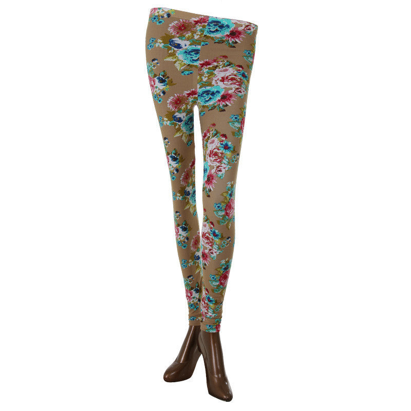 Pink Floral Print On Stylish Enrich Finished Leggings From Estyle