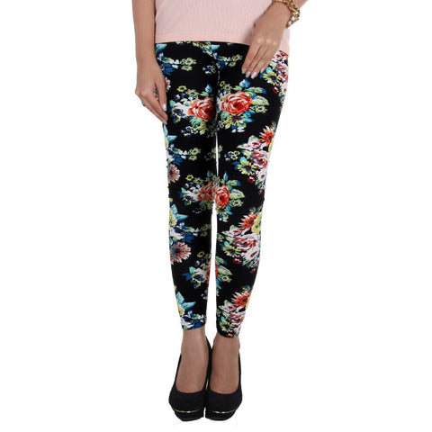 Black Floral Print On Stylish Enrich Finished Leggings From Estyle