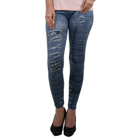 Light Skinny Blue Jeans Printed On Enrich Finished Leggings From Estyle