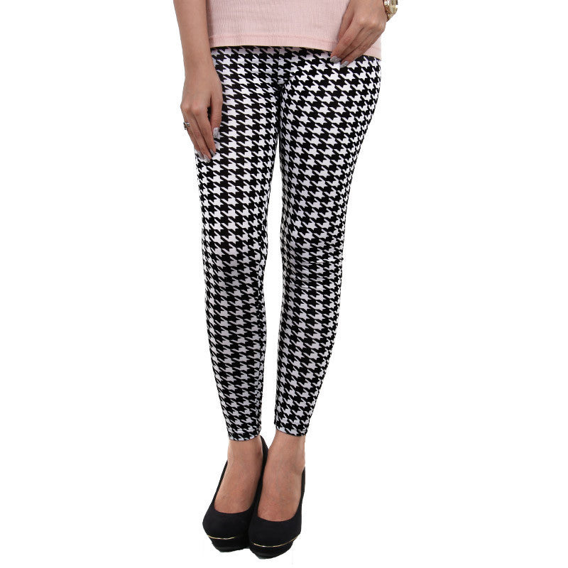 White Prints On Black Enrich Finished Leggings From Estyle