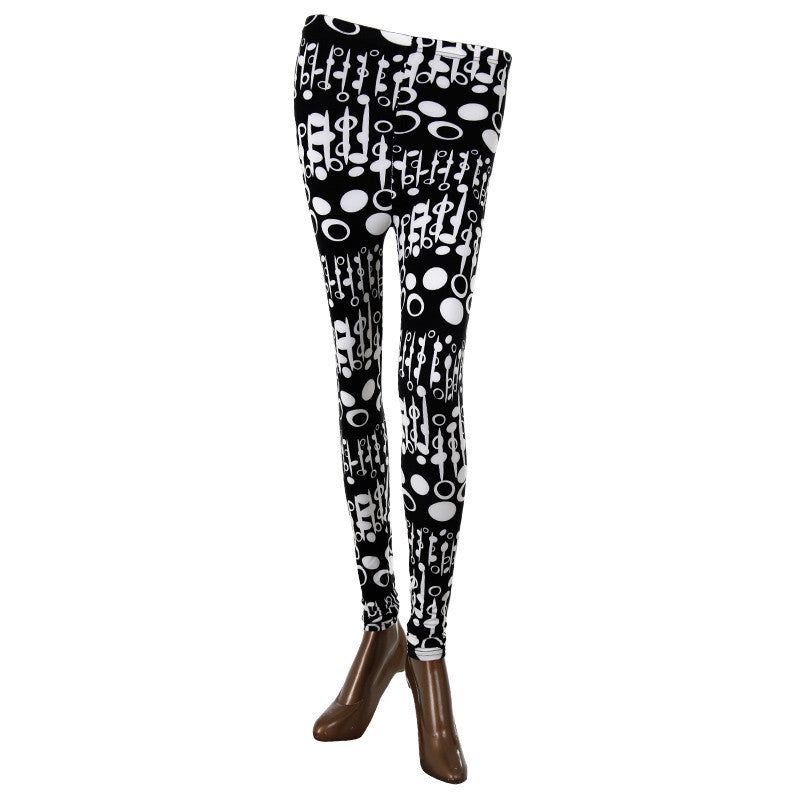 Oval Prints On Black Enrich Finished Leggings From Estyle
