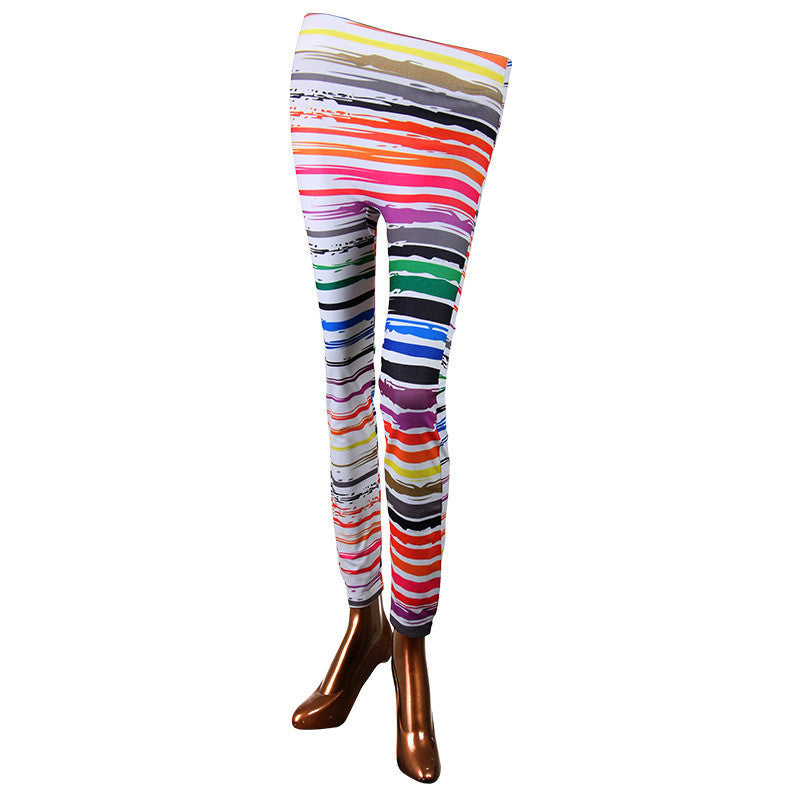 Multicolor Strips On Enrich Finished Leggings From Estyle