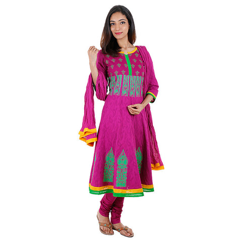 eSTYLe Jacquard Cotton Vivid Viola Anarkali 3Pce Set With Chudi and Dupatta