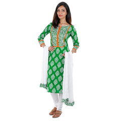 eSTYLe Ultra Green Printed 3Pce Set With Chudi and Dupatta