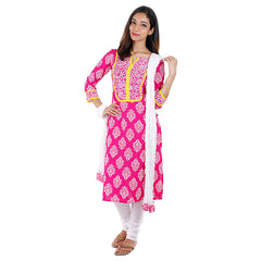 Raspberry Sorbet eSTYLe Printed 3Pce Set With Chudi and Dupatta