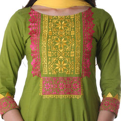 Spinach Green Embroidered Anarkali