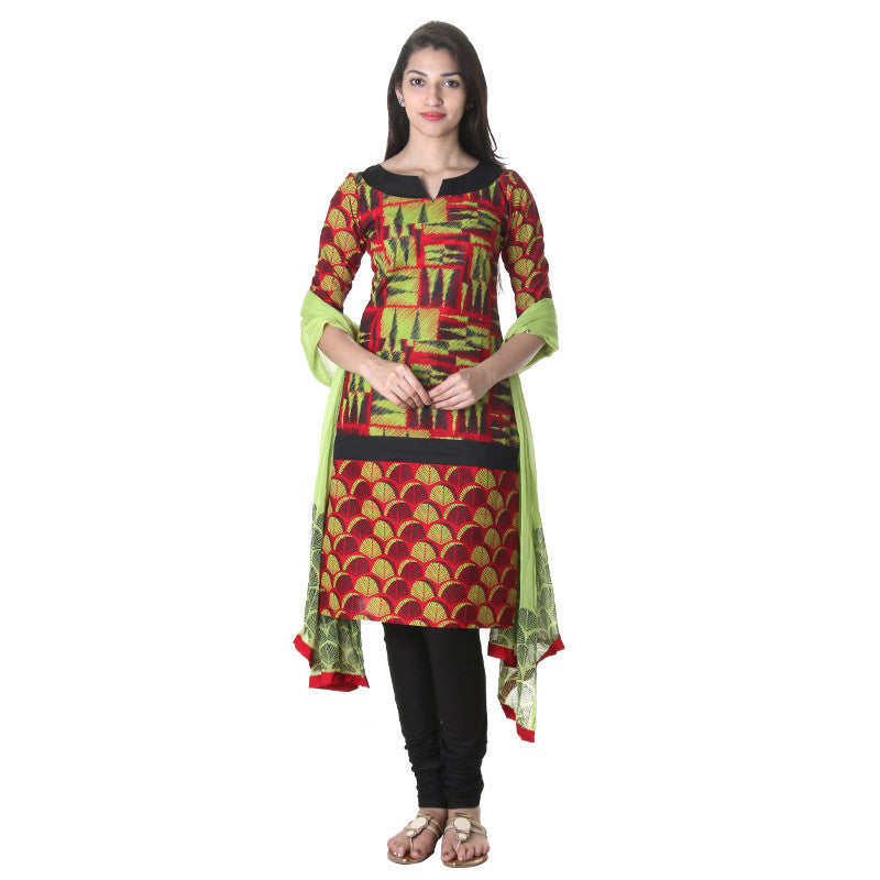 Tomato Puree Contrast Floral Printed 3-Piece Salwar Suit With Contrast Pant And Dupatta From eSTYLe