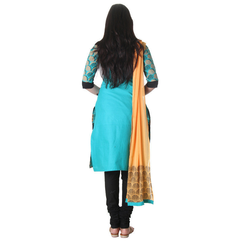 eSTYLe Scuba Blue Printed Design Cotton 3-Piece Salwar Suit With Matching Pant And Dupatta