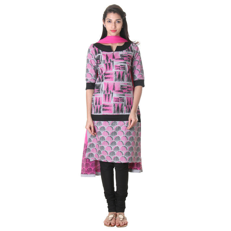 3-Piece Cotton High-Rise Printed Salwar Suit With Stylish Pant And Dupatta From eSTYLe