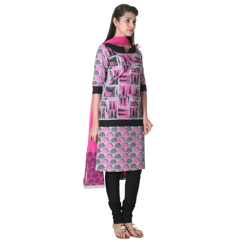 3-Piece Cotton High-Rise Printed Slawar Suit With Stylish Pant And Dupatta From eSTYLe