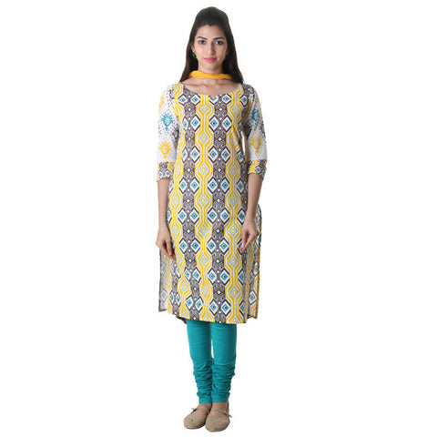 3Pce Set - Daffodil Yellow Printed Kurta With Chudi And Chiffon Dupatta