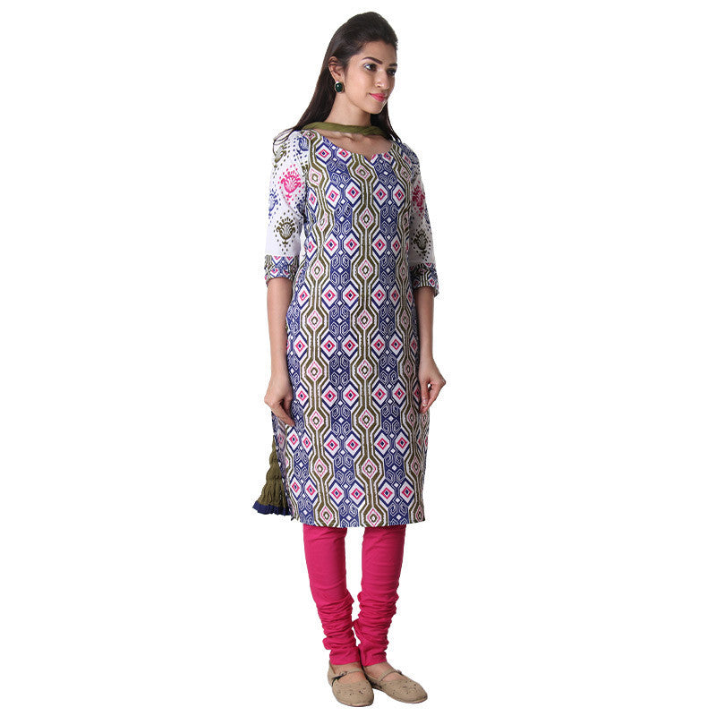 3Pce Set - Blue & Olive Branch Printed Kurta With Chudi And Chiffon Dupatta
