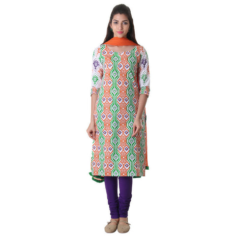 3Pce Set - Jaffa Orange & Jelly Bean Printed Kurta With Chudi And Chiffon Dupatta