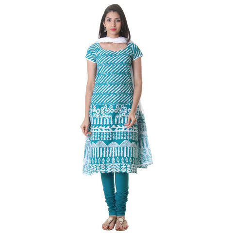 eSTYLe Harbor Blue 3Pce Suit Cotton Printed Kurta