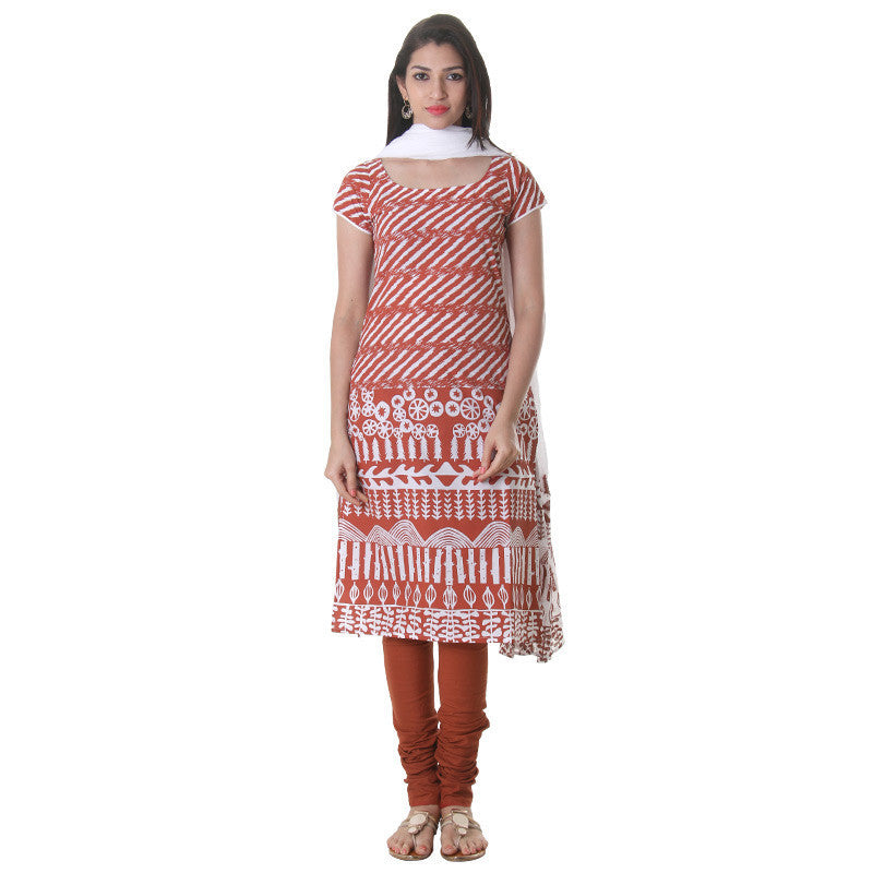 3Pce Suit Burnt Sienna Cotton Printed Kurta From eSTYLe