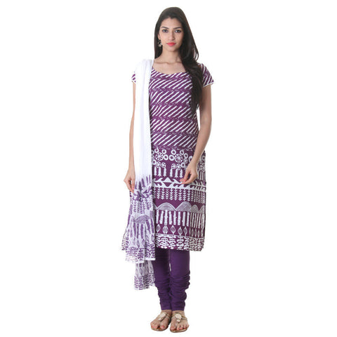 eSTYLe 3Pce Suit Grape Juice Cotton Printed Kurta