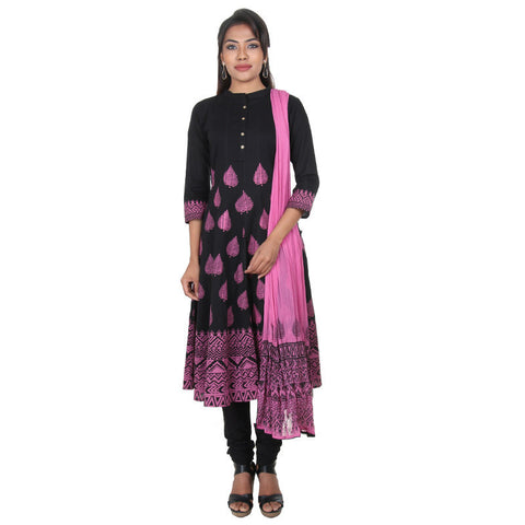 Royal Black With Pinkish Leaf Prints & Buttoned Placket eSTYLe 3-Piece Suit Set