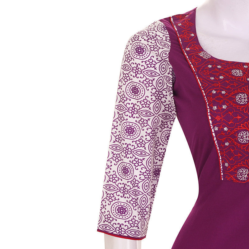 Grape Wine Casual Cotton Kurta With Embroidered Yoke With Chudi And Duppata