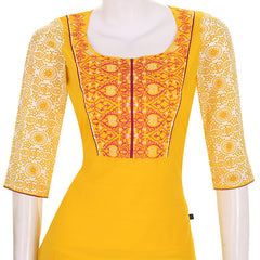 Casual Gold Fusion Cotton Kurta From eSTYLe With Chudi And Duppata