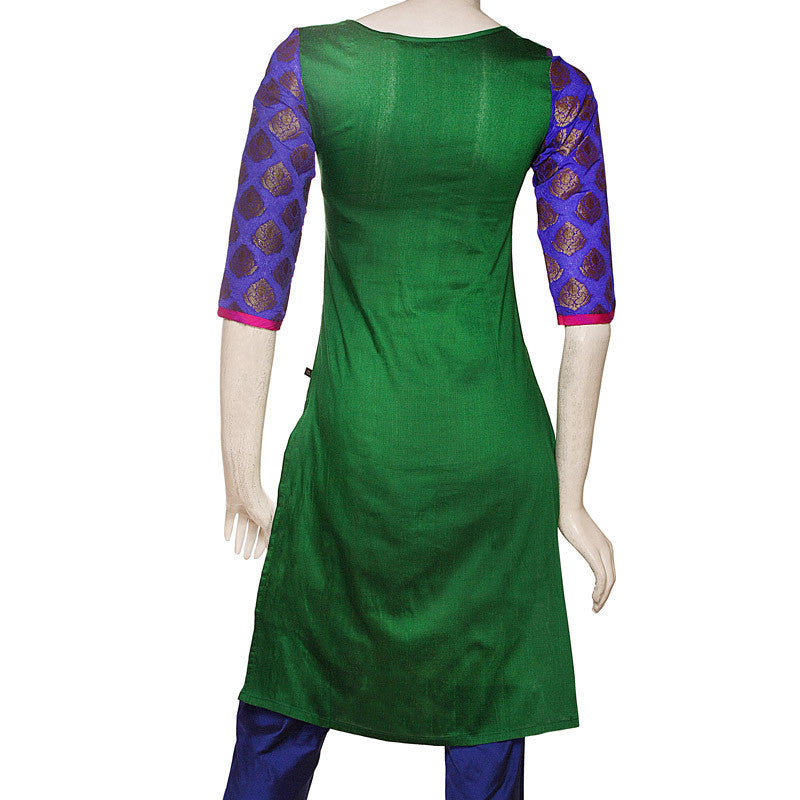 3 Pce Set - Verdant Green Silk Cotton Kurta With Chudi and Dupatta From eSTYLe