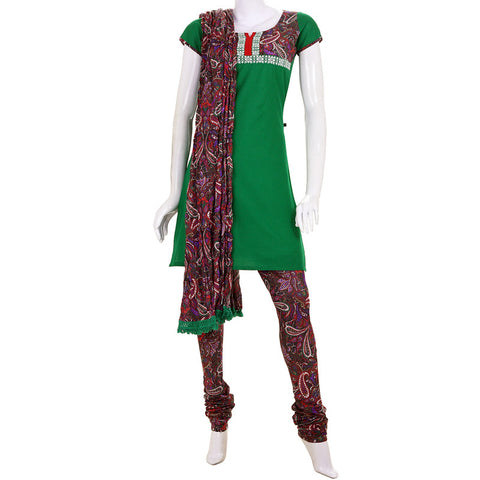 Dartmouth Green Casual Cotton Kurta With Printed Chudi And Dupatta