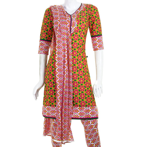 Blazing Yellow Floral Printed Cotton Kurta With Chudi and Dupatta