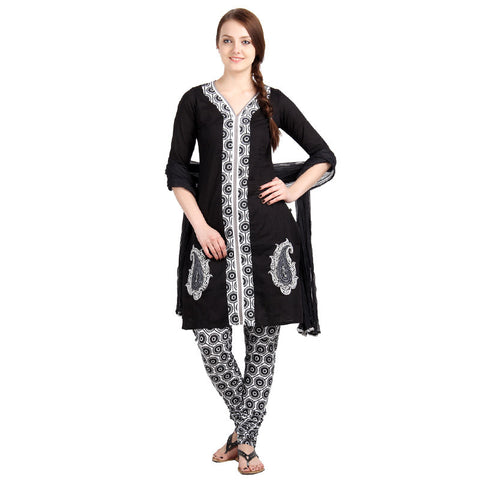 3Pce Set - Casual Cotton Kurta With Printed Work Along The Midline With Chudi And Dupatta