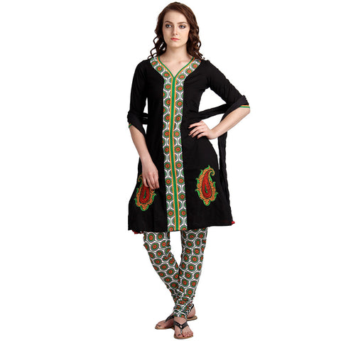 3Pce Set - Black Cotton Kurta With Contrast Embroidery With Chudi And Dupatta