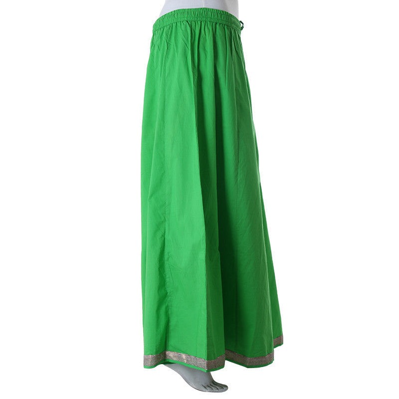 eSTYLe Classic Green Gored Palazzo With Elegant Border.
