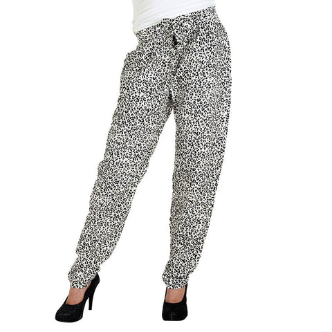 eSTYLe Zebra Shade Printed Rayon Parallel Pants With Stylish Belt